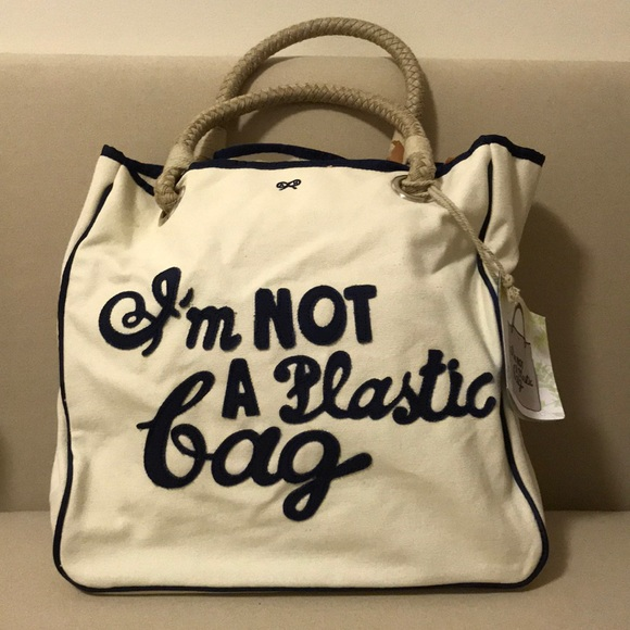 a08fa10fa793 Anya Hindmarch I m Not A Plastic Bag Canvas Tote